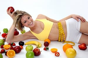 woman and many fruits